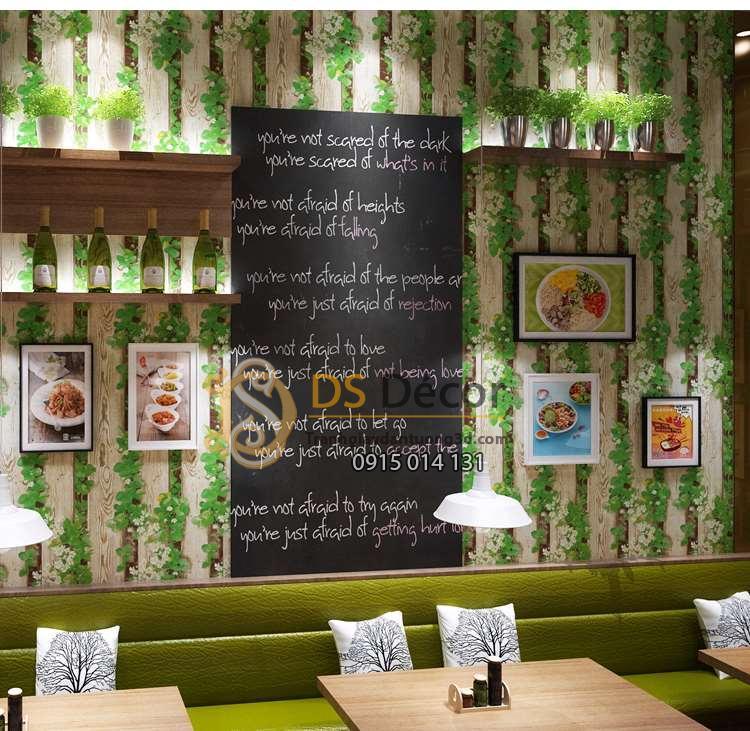 Giấy dán tường dây leo cuốn gỗ 3D085 quán cafe