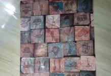 Giấy dán tường ụ gỗ vintage 3D044