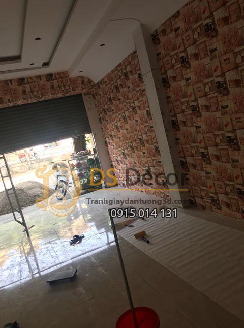 Giấy Dán Tường Quán Cà Phê Giả Gỗ Phong Cách Retro 3D055 quán cafe