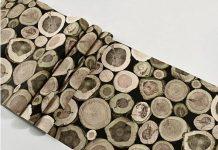 Bề mặt Giấy dán tường giả gỗ lát tròn 3D042