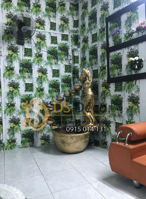 Thi công Giấy dán tường lá cây trên nền gỗ trắng 3D311