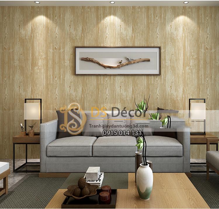 Giấy-dán-tường-giả-gỗ-3D103-màu vàng nhạt