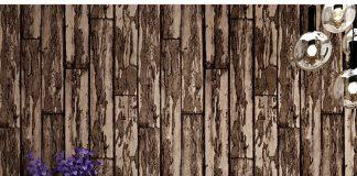 Giấy dán tường giả gỗ rêu phong mộc mạc 3D289 màu nâu