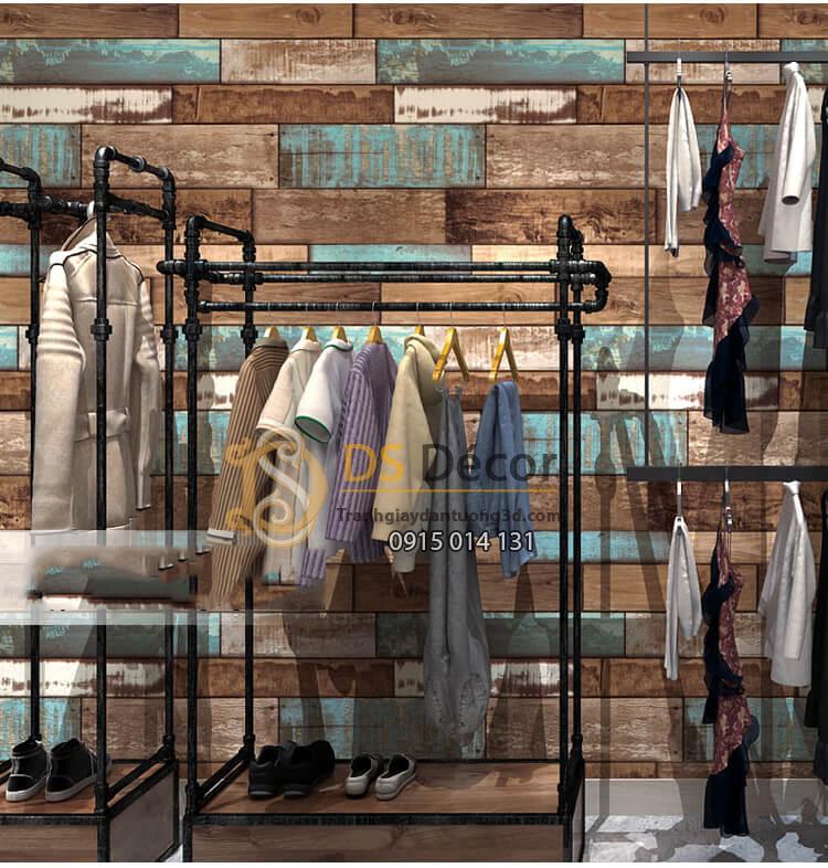 Giấy dán tường giả gỗ ván cổ vintage 3D290 dán shop quần áo