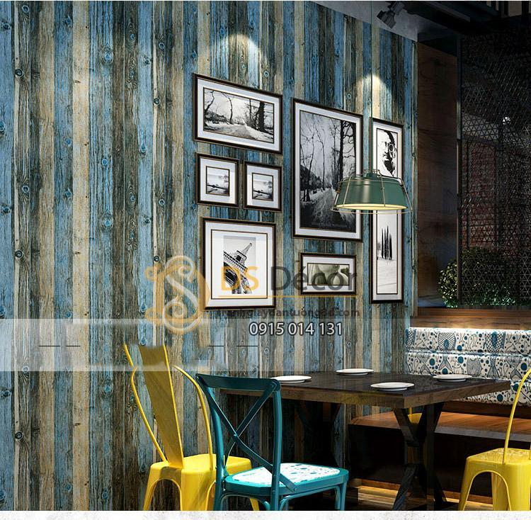 Giấy dán tường giả gỗ xám xanh 3D087