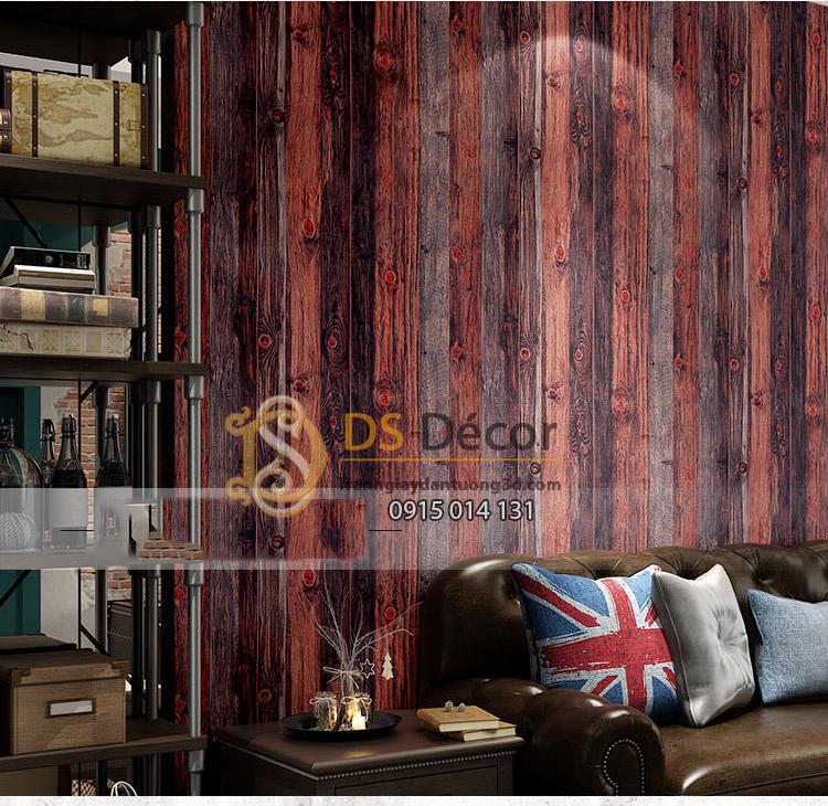 Giấy dán tường giả gỗ xám đỏ 3D087