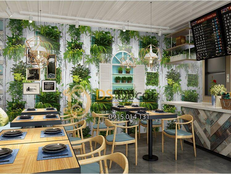 Giấy dán tường lá cây trên nền gỗ mục 3D311 quán ăn
