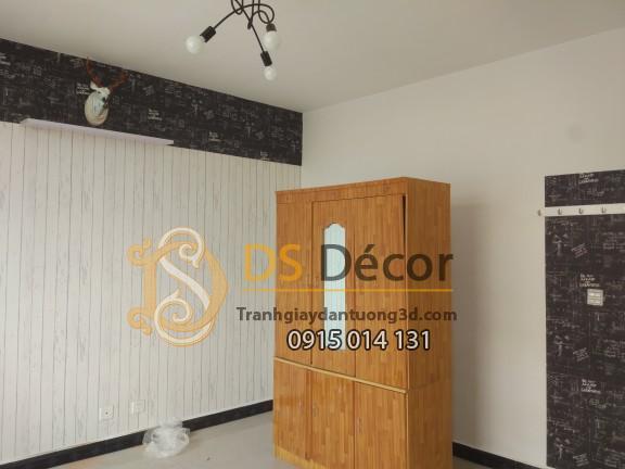 Giấy dán tường gỗ trắng 3D089 phòng ngủ