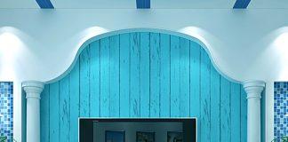 Giấy Dán Tường Giả Ván Gỗ Xanh Nước Biển 3D065