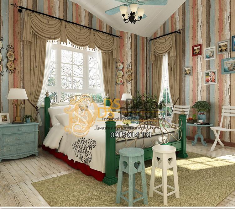 Giấy dán tường giả gỗ retro cổ điển nhiều màu 3D074 phòng ngủ