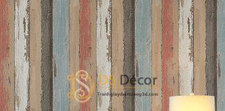Giấy dán tường giả gỗ retro cổ điển nhiều màu 3D074 dán phòng ngủ
