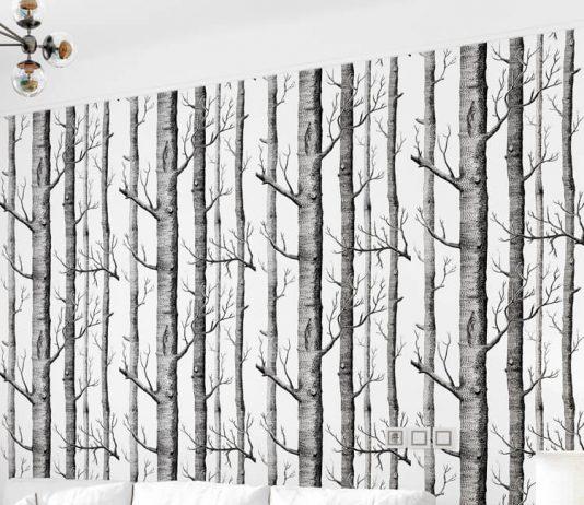 Giấy dán tường thân gỗ đen 3D312 phòng khách
